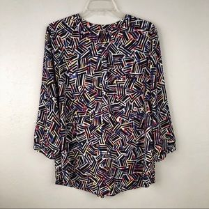 NYDJ Sz Large Popover Blouse Black Abstract Print
